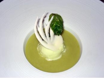Soupe-d-avocat-au-citron-vert-et-basilic-sorbet-pomme-verte-a-l-huile-d-argan