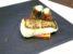 Dos de cabillaud sur pain d'épices, espuma de céleri boule en tubes d'algues, crème de balsamique blanche