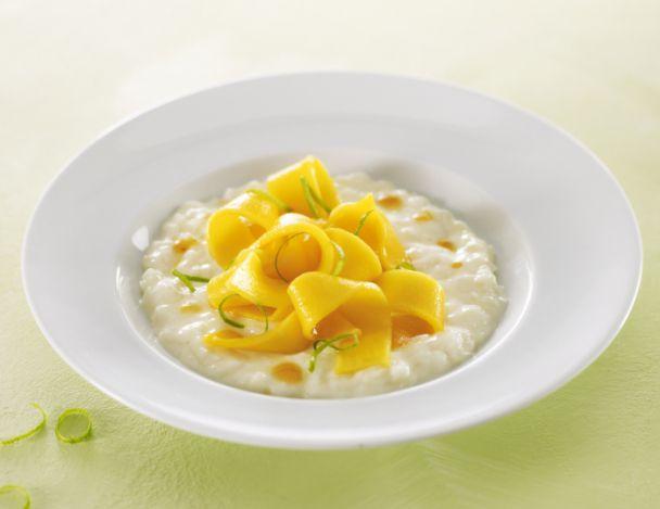 Riz au lait vanille, lasagnes de mangue et citron vert