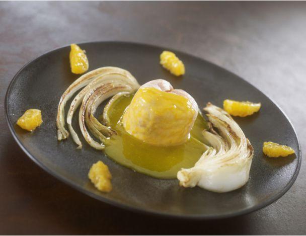 Saumon cuisson basse température à la mandarine, au gingembre et aux choux pak choï