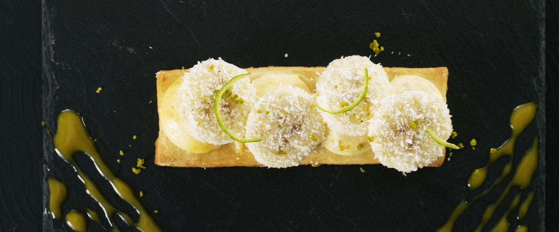 You are currently viewing Banane poêlée sur un sablé au citron vert, crème mascarpone